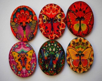 6 buttons, wood, oval with BUTTERFLIES, 28x20x2mm 6 varied and different colors, sewing, scrapbooking, deco, customization...