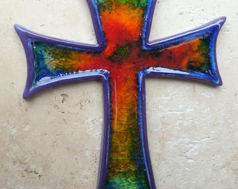 Handmade, Ceramic Glass Wall Cross Ideal Easter, Christian, Christening Gift.