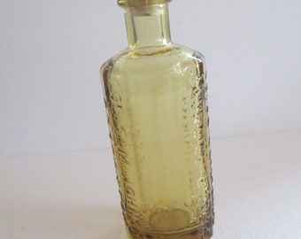 Vintage Wheaton yellow apothecary glass tiny bottle with cork Weaton markings used