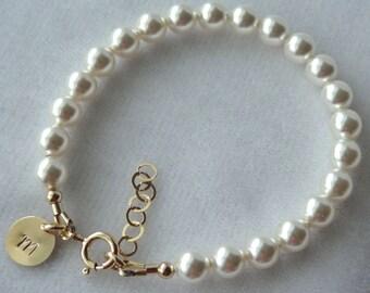 Gold Initial Pearl Baptism Bracelet, Flower Girls Bracelet, Pearl Baptism Bracelet, First Communion, Confirmation, Gold Cross Pearl Bracelet