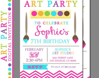 Art Party Invitation, Paint Party Invitation, Craft Party Invitation - Digital Art Party, Arts and Crafts, Printable Art Party Invitation
