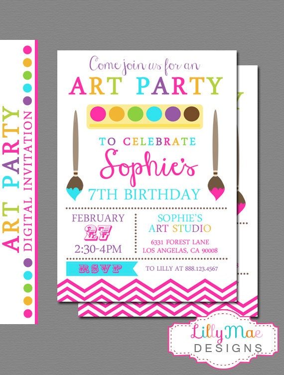 Art party invitation paint party invitation craft party for Arts and crafts party