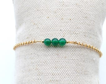 Gold plated bracelet chain minimalist, and green agate beads