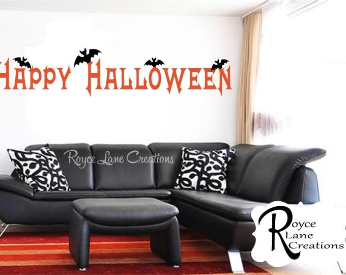Halloween Decal-Happy Halloween with Bats RLC- Halloween Stickers- Bat Decal- Halloween Decorations- Vinyl Halloween Decal-  Halloween Bats