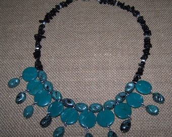 Faux-turquoise boho necklace with black beads