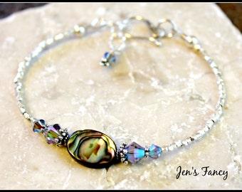 Paua Shell & Pure Silver Bracelet, Karen Hill Tribe Silver, Paua Shell Jewelry, Beach Jewelry, Summer Bracelet, Beach Jewelry, Handcrafted