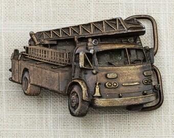 Vintage Fire Truck Silhouette Belt Buckle Bergamot Brass Works 1978 Made in USA Belt Buckle 7G