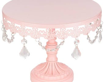 Pink Sophia Collection Crystal Cake Stand - 25cm D