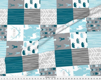 Little Man Quilt Fabric - Wholecloth Quilt Winslow Woodland - Baby Boy Woodland Nursery Cotton Fabric by the Yard with Spoonflower