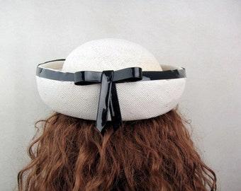 Vintage 1960s Hat | White Straw | Breton | Navy Blue Vinyl Trim | Nautical |Sailor Hat