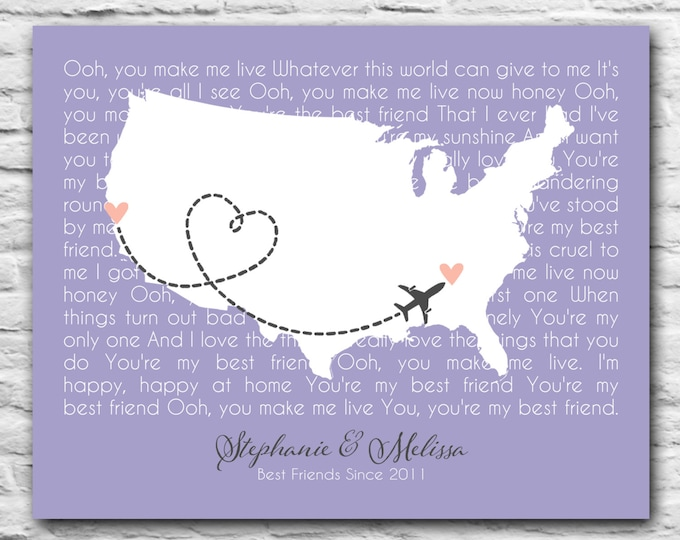 BFF Country State Map Song Lyrics Long Distance Print Quote Best Friend Birthday Gift Idea Personalized Print Heart Unique 8x10 Birthday