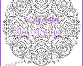 Adult coloring page MANDALA (zendala), PDF zentangle pattern, original, tangle   inspired.