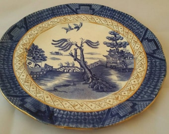 Antique Booths Silicon China England Real Old  Willow Plate / Gold Version  23cm diameter 1906-1921 Fluted Rim