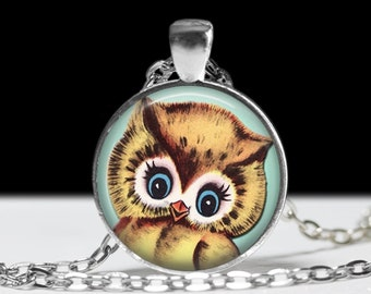 Retro Owl Jewelry Pendant Wearable Art Owl Necklace Gift for Her Cute Owl Necklace
