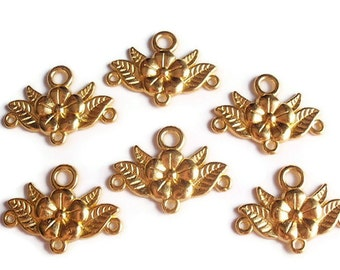 6 Links, Finding Supply, 6 Chandelier Flower Components, Bright Gold Colored, 32mmX23mmX3mm