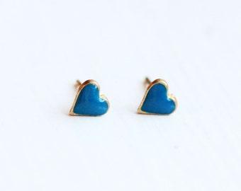 Blue Heart Studs, Tiny Heart Studs, Small Heart Studs, Enamel Heart Studs, Enamel Studs, Small Studs, Blue Studs, Studs, Enamel Studs