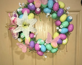 Easter Grass and Eggs Easter Wreath