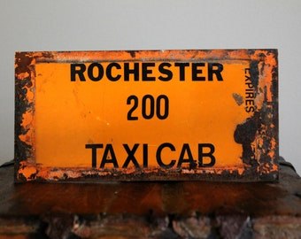 vintage tin window sign Rochester 200 Taxi Cab, industrial decor, cottage decor, urban chic, industrial salvage, rusty signs