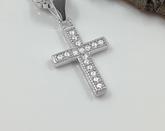 Blessed silver cross necklace/Silver cross pendant