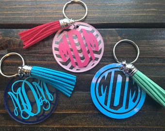 Monogram Keychain with Tassel | Customized Circle Keychain