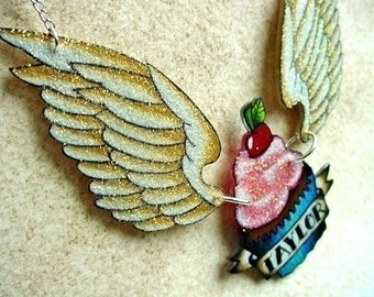 NEW tattoo cupcake and wings with custom banner necklace Wicked Minky tattoo necklace back or die