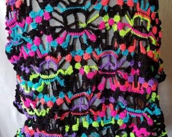Peace sign shawl multicolored.  Vibrant and fun.  #sweater #shawl