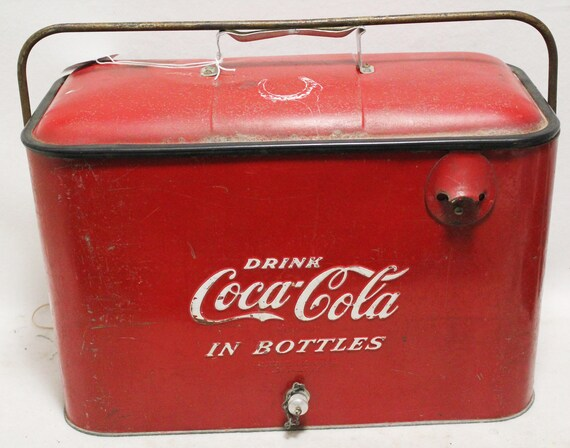 Vintage Coca Cola Coke Red Metal Picnic Cooler W Opener Travel