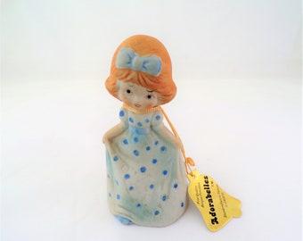 Jasco AdoraBelle Girl Figurine 1979 - Girl in Blue Polka-Dot Dress- Porcelain Bisque Jasco Girl Adorabelle Figurine