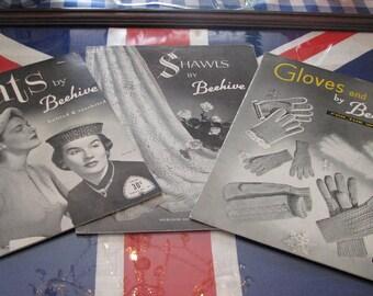 Three vintage knitting/crochet pattern books 1940s , 1950s era