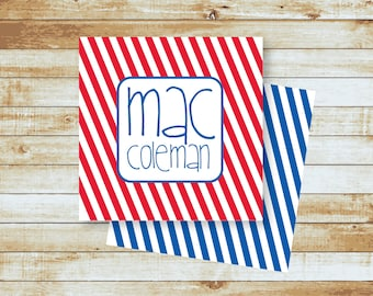 Personalized Calling Cards / Gift Tags / Kids / Mac Stripes