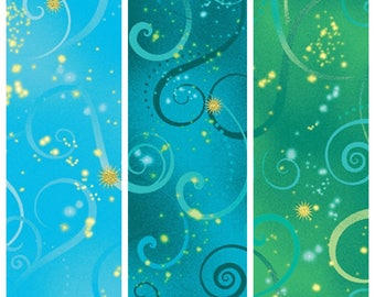 Light Blue, Turquoise, or Green Swirls - Quilting Cotton; [[by the half yard]]