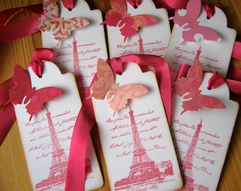 Eiffel Tower, French, Paris Gift Tags, Pink, Butterfly