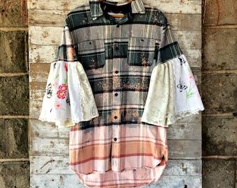 Flared Sleeve Flannel Shirt - Upcycled Bell Sleeve Plaid Shirt - Hippie Clothing - Hand Embroidered - Lace Shirt