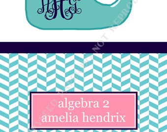 Whale binder cover and insert, personalized binder cover, with monogram and name, Whale binder cover - DIGITAL FILE ONLY