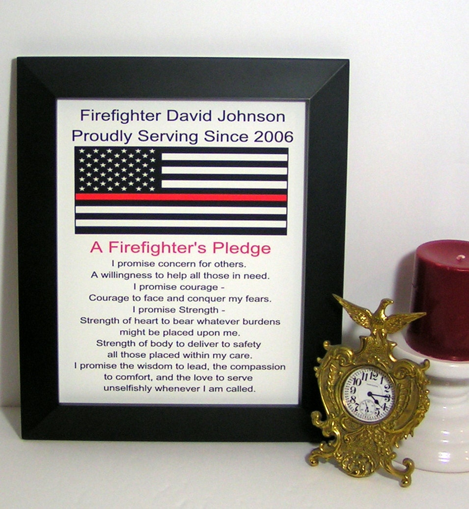 Thin Red Line Flag Personalized Fireman Gift A