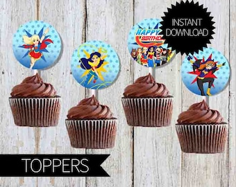 SuperHero Girls Birthday Party Printables Cupcake TOPPERS- Instant Download | DC comics | DC Super Hero Girls | Super Girls