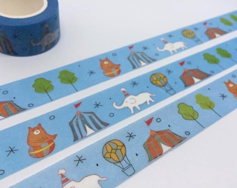 Circus party tape 10M x 2 cm white elephant brown bear circus tent washi tape circus party invitation deco sticker tape party planner tape