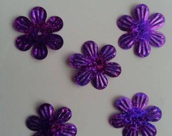 lot de 5 sequins fleurs 35mm violet à reflets
