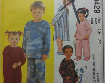 McCall's 3429 Toddler's and Children's Jumpsuit, Nightshirt, Top and Pull-On Pants.  Size 4-5-6