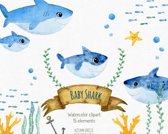 Baby shark clipart, baby shark birthday party, watercolor clipart, animals clipart,  nursery wall decor, sea animals party