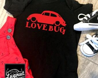 Love Bug - VW Beetle - Baby Bodysuit or Toddler TShirt