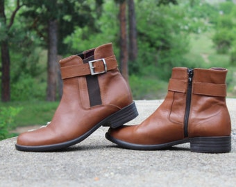 Vintage ankle boots, Leather boots mens, Brown leather boots, Leather boots ankle, Italian designs boots, Size US-8 / UK-5.5 / EU-39