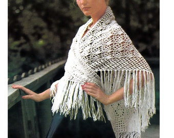 Fan Lace Shawl Crochet Pattern Fringe Motif PDF Instant Download SH105