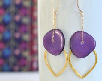 Tagua Nut Earrings- Gold Filled Chain Earrings- Purple and Gold- Tagua Earrings- Purple Earrings- Gold Vermeil Earrings- Long Earrings