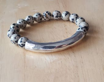 Silver bar bracelet, gemstone bracelet, boho jewelry, beaded bracelet for women, stacking bracelet, high school graduation gift for her, bes