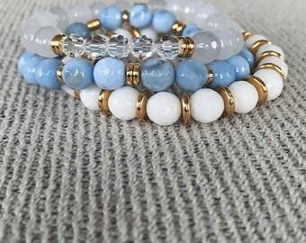 spring fever bracelet TRIO, genuine Swarovski crystals, handmade beaded bracelet, stackable bracelet, stretch bracelet, custom jewelry