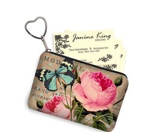 Shabby Rose Zipper Coin Purse Keychain Fob  Business Card Case Small Zipper Pouch bridesmaid gift Pink Vintage Floral, Blue Butterfly RTS
