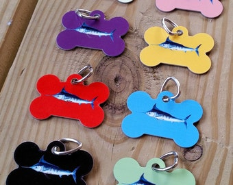 Blue Marlin Bone Shaped Pet tag aluminum ID for doggies sportfishing gift