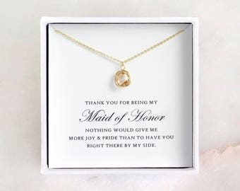 Maid of Honor Gift - Gold Glass Necklace, Maid of Honor Necklace/ Maid of Honor Jewelry & Thank You Card/ Maid of Honor Thank You Gift