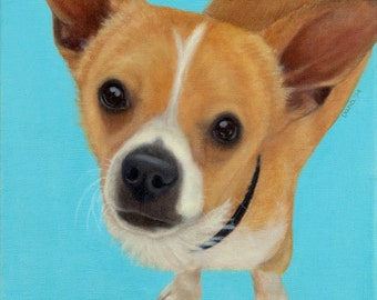 Chihuahua Mix Painting - Chihuahua Dachshund Painting - Shelter Dog Art - Proceeds Benefit Animal Charity